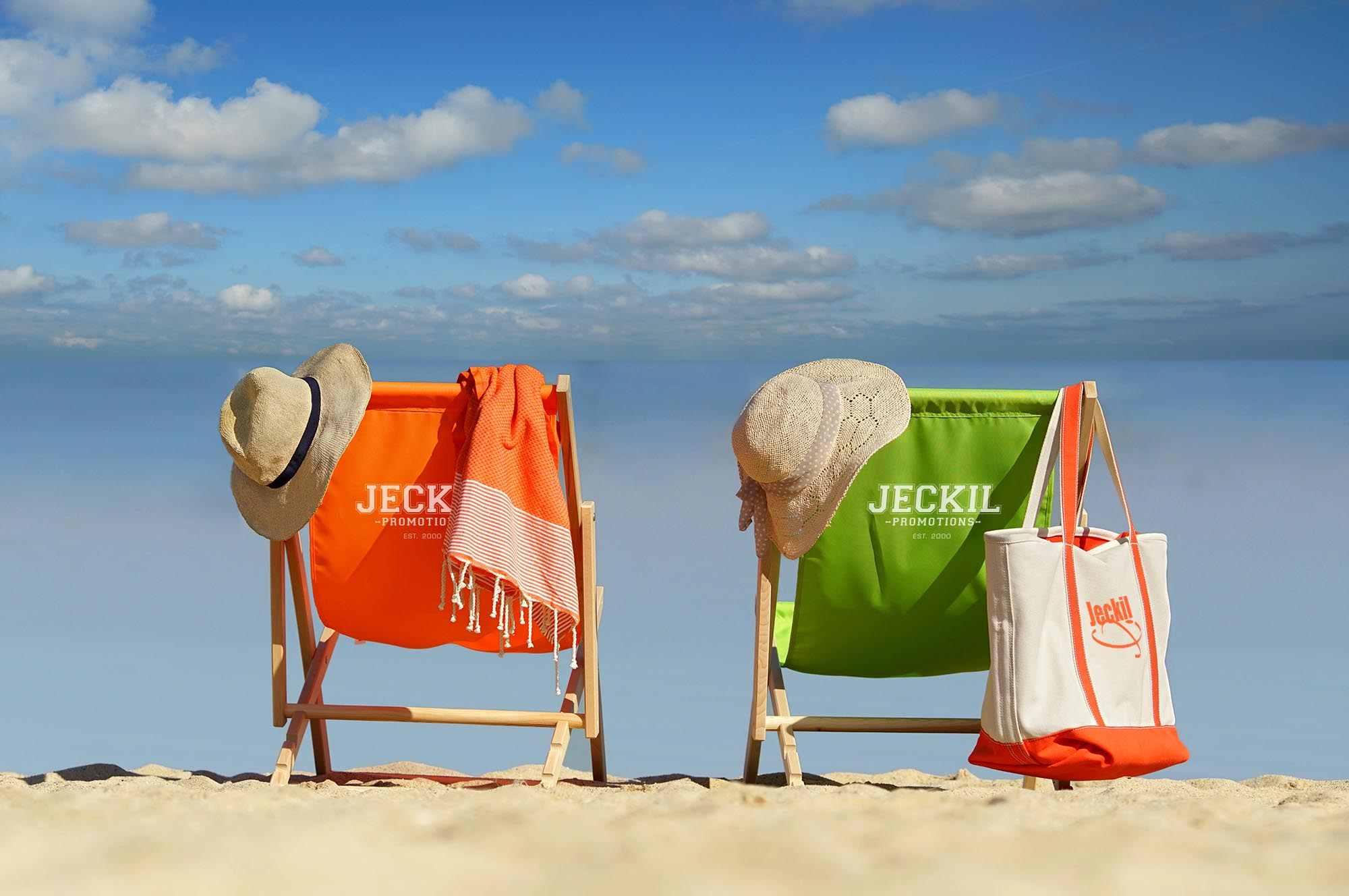 beautiful beach with deck chairs in the sand - holiday relax concept