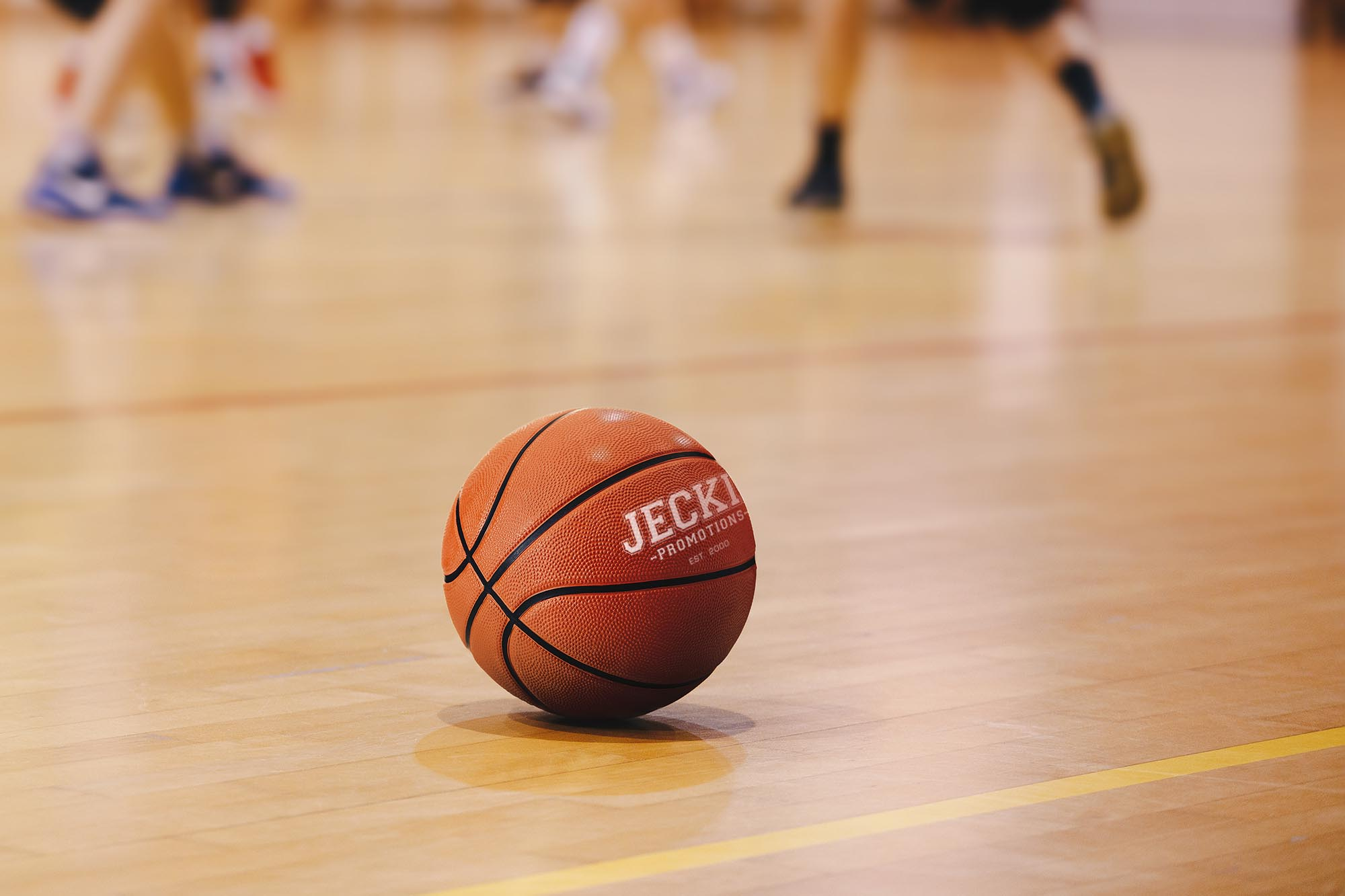 Basketball Training Game Background. Basketball on Wooden Court